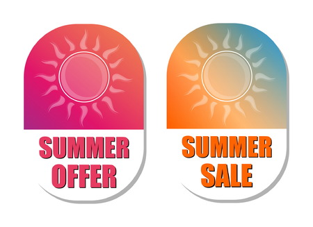 selling off: summer offer and summer sale banners - text in pink and orange flat design labels with sun symbols, business seasonal shopping concept, vector