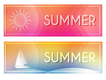 文字夏天与白色的太阳和船在横幅与框架在粉红色和黄色的蓝色背景,季节性的平面设计标签,向量