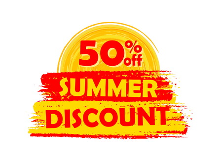 abatement: 50 percentages off summer discount banner - text in yellow and orange drawn label with sun symbol, business seasonal shopping concept, vector