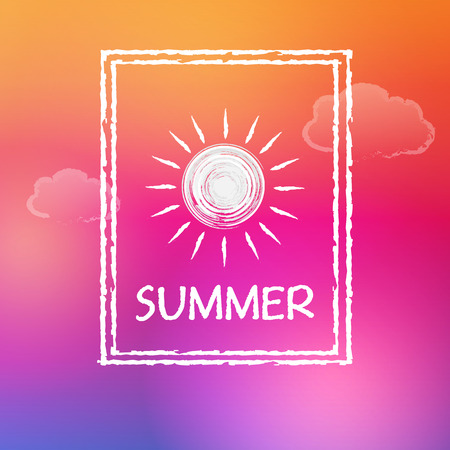 pink sky: text summer with white sun and clouds in frame over orange pink sky background, flat design label, vector