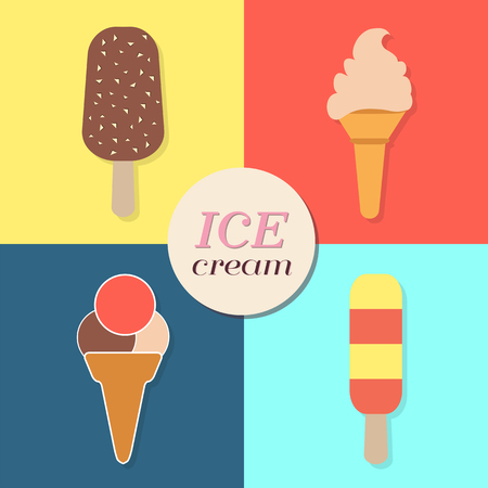 summery: ice cream text and illustrations, abstract summery retro label, flat design, vector