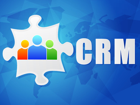 relationship management: CRM - customer relationship management and puzzle piece with person signs over blue background, flat design, business concept, vector