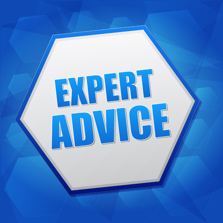 proficient: expert advice - business consult concept word in hexagon over blue background, flat design, vector Illustration