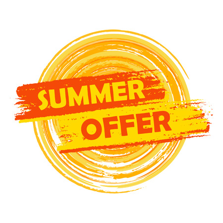 selling off: summer offer banner - text in yellow and orange drawn label with sun symbol, business seasonal shopping concept, vector
