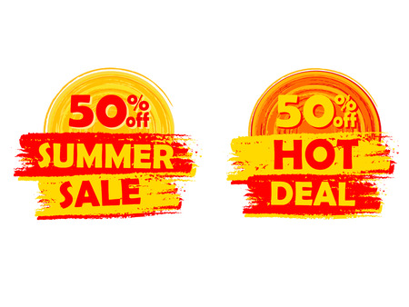 selling off: 50 percentages off summer sale and hot deal banners - text in yellow and orange drawn labels with sun symbols, business seasonal shopping concept, vector