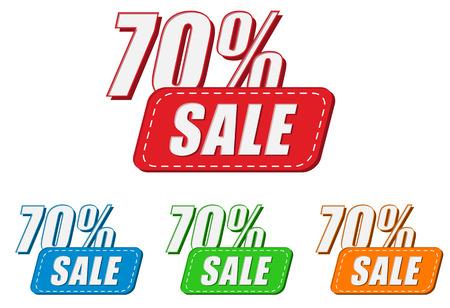 percentages: 70 percentages sale, four colors labels, flat design, business shopping concept, vector