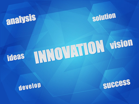 innovation and business creation concept words in hexagons over blue background, flat design, vector Çizim