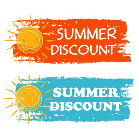 zomer korting banners - tekst in oranje en blauw getekende labels met gele zon symbool, zakelijke seizoensgebonden winkelen concept, vector