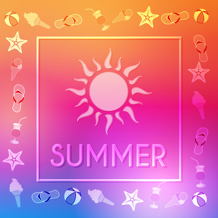 summery: text summer with sun and summery symbols in frame over orange pink violet background, flat design poster, vector Illustration