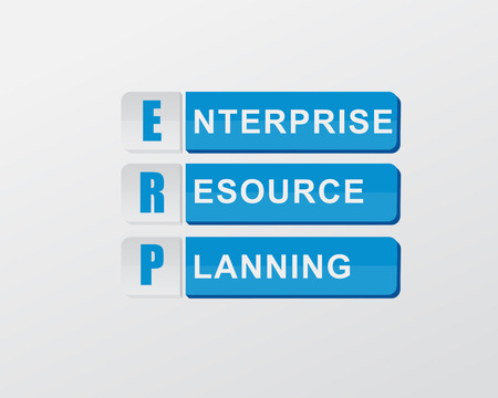 erp: ERP - enterprise resource planning - text in blue banners, flat design, business systems concept, vector Illustration