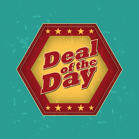 business deal: deal of the day - retro style hexagon label with text and stars, business concept, vector Illustration