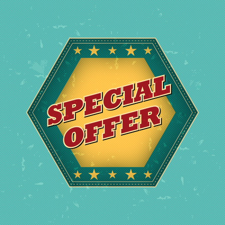 selling off: special offer - retro style blue, ocher, red hexagon label with text and stars, business concept, vector Illustration