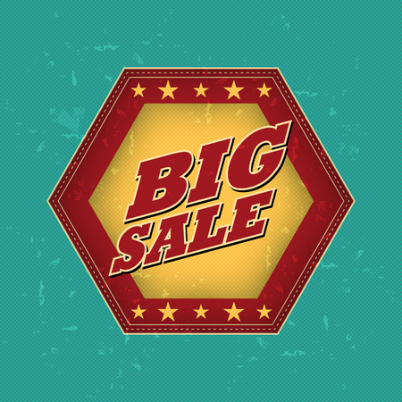 sale sticker: big sale - retro style blue, ocher, red hexagon label with text and stars, business concept, vector