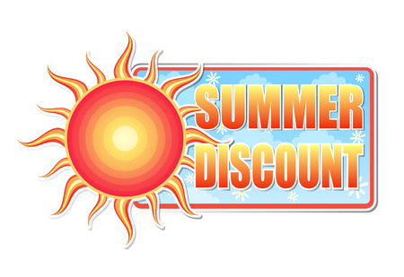 selling off: summer discount banner - text in blue label with red yellow sun and white daisy flowers, business concept, vector