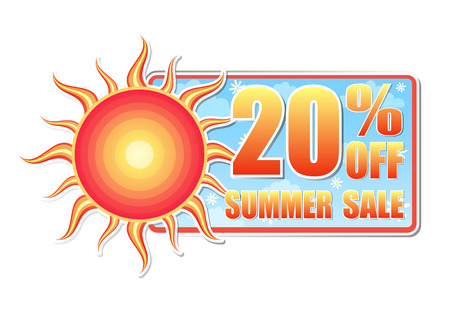 selling off: 20 percentages off summer sale banner - text in blue label with red yellow sun and white daisy flowers, business concept, vector