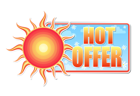 sun flowers: hot offer banner - text in blue label with red yellow sun and white daisy flowers, business concept, vector Illustration