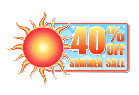 sun flowers: 40 percentages off summer sale banner - text in blue label with red yellow sun and white daisy flowers, business concept, vector