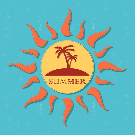 insular: vintage label with text summer in drawn yellow sun with palms and orange rays over blue old paper background, vector