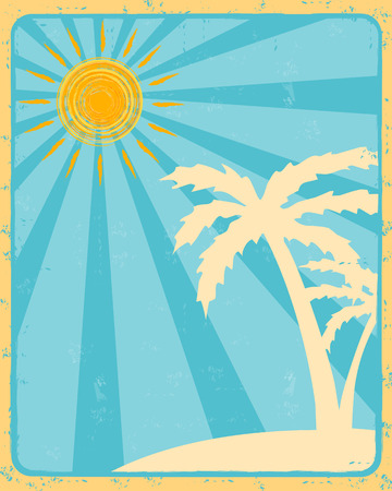 insular: vintage summer label with drawn orange sun and beige palms silhouette over blue rays old paper background, vector