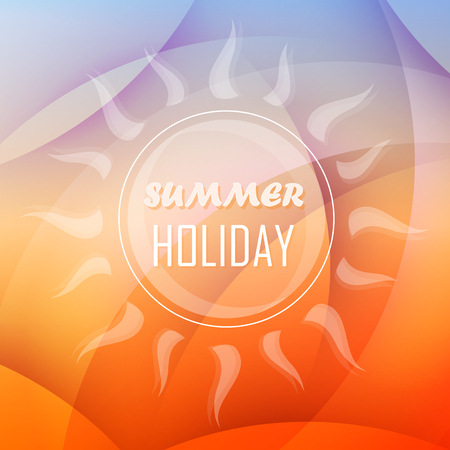 summery: abstract summery background with text summer holiday and sun in orange and blue, flat design, vector Illustration