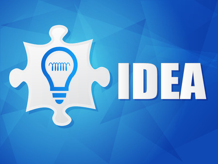 ingenious: idea and puzzle piece with light bulb sign - white text with symbol over blue background, flat design, business creative concept, vector