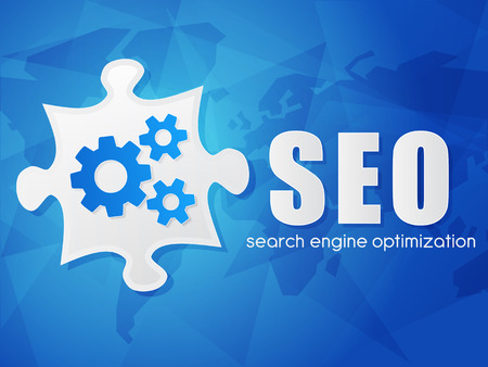 SEO and puzzle piece with gear wheels, search engine optimization text over blue background with world map, flat design, business technology concept words, vector