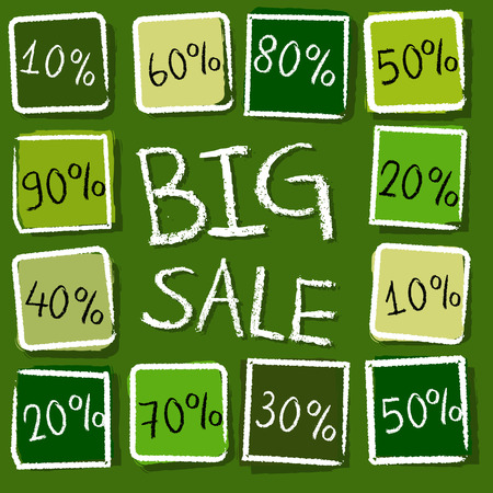 percentages: big sale and different percentages - retro style green label with text and squares, business concept, vector