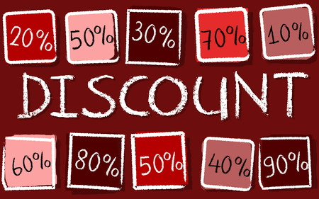 selling off: discount and different percentages - retro style red label with text and squares, business concept, vector
