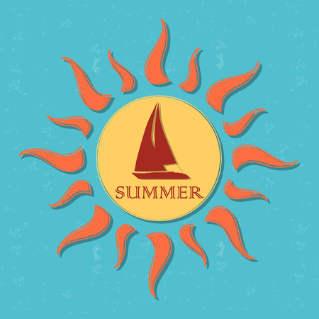 sailer: vintage label with text summer in drawn yellow sun with boat and orange rays over blue old paper background, vector Illustration
