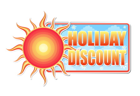 selling off: summer holiday discount banner - text in blue label with red yellow sun and white daisy flowers, business concept, vector