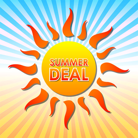 selling off: summer deal - text in orange sun over yellow and blue rays, vector Illustration