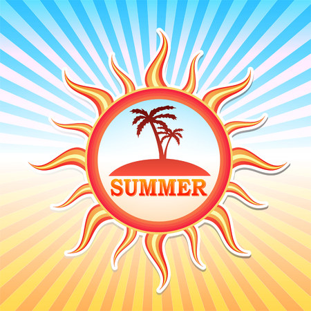 insular: label with text summer and drawn palms in sun in yellow red gradient and blue orange rays, vector