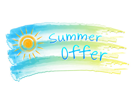 selling off: summer offer and sun - illustration of isolated hand drawn flag with text, business concept, vector