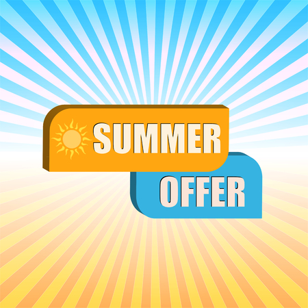 selling off: summer offer - orange and blue box over gradient rays, business label, vector