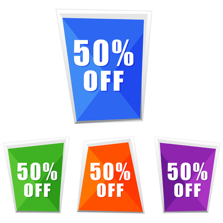 selling off: 50 percentages off, four colors labels, flat design, business shopping concept, vector