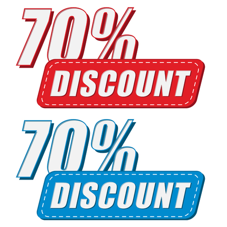 deduction: 70 percentages discount in two colors labels, business shopping concept, flat design, vector