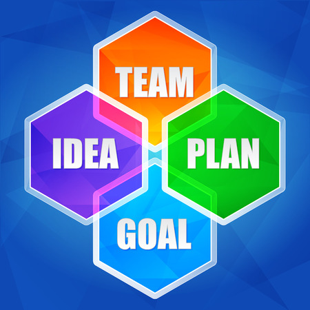 fulfil: idea, team, plan, goal - business growth concept words in color hexagons over blue background, flat design, vector Illustration