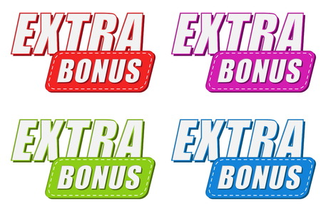 extra money: extra bonus in four colors labels, business shopping concept, flat design, vector Illustration