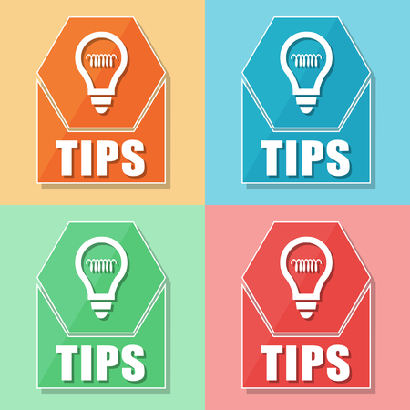 uphold: tips and bulb symbol, four colors web icons, flat design, business support concept, vector Illustration
