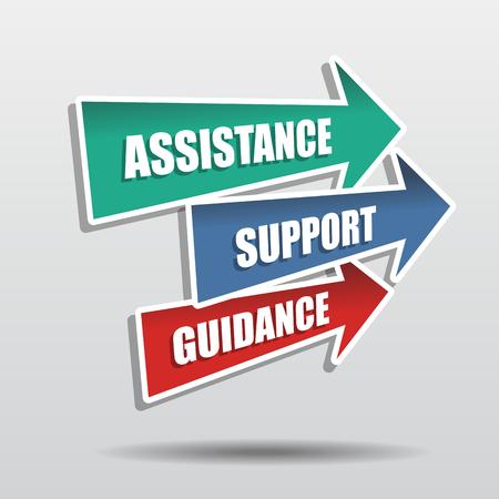 assistance, soutien, conseils en flèches, mots de concept d'affaires, design plat, vecteur