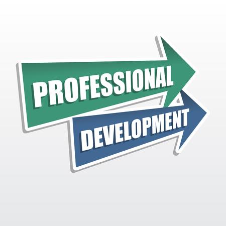 careerist: professional development - text in arrows, business career concept, flat design, vector