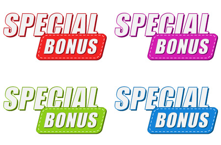 selling off: special bonus in four colors labels, business shopping concept, flat design, vector
