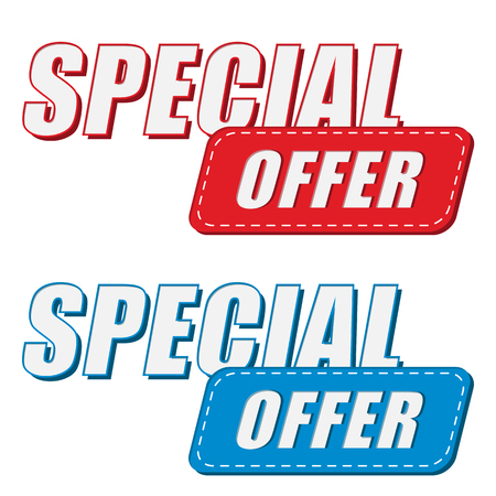 selling off: special offer in two colors labels, business shopping concept, flat design, vector