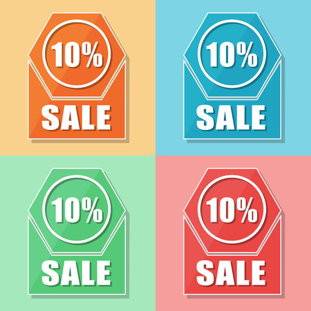 selling off: 10 percentages sale, four colors web icons, flat design, business shopping concept, vector