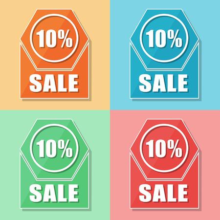 sale icons: 10 percentages sale, four colors web icons, flat design, business shopping concept, vector