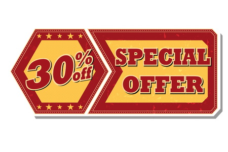 selling off: 30 percentages off discount special offer - retro style red ocher hexagon and flyer label with text and stars, business concept, vector
