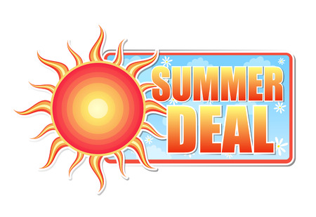 selling off: summer deal banner - text in blue label with red yellow sun and white daisy flowers, business concept, vector Illustration