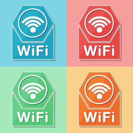 wireless connection: wifi sign - four colors web icons with wireless symbol, flat design, internet connection concept, vector Illustration