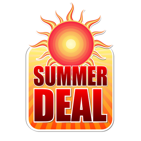 sale sticker: summer deal banner - text in yellow label with red sun and orange sunrays, business concept, vector