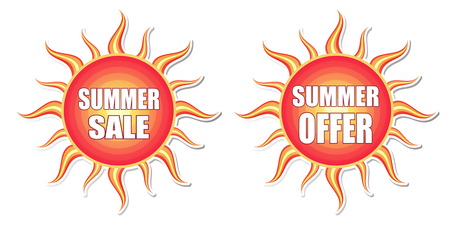 summer sale and summer offer banners - text in red orange yellow labels with sun shape, business concept, vector